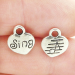 Music Charms Wholesale with Sing on Heart in Antique Silver Pewter