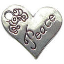 Heart Peace Affirmation Charm in Antique Silver Pewter