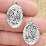 Silver St Michael Medal with Guardian Angel in Pewter