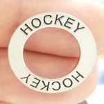 Affirmation Ring Hockey Charm in Antique Silver Pewter