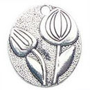 Tulip Charm Antique Silver Pewter Medium