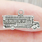 School Bus Charms Bulk in Antique Silver Pewter Double Sided