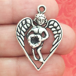 Angel Charm in Antique Silver Pewter in Heart Design
