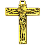 Plain Gold Crucifix Cross Charm Pendant in Pewter