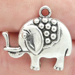 Lucky Elephant Charm in Antique Silver Pewter
