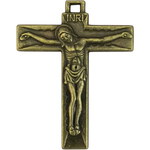 Plain Bronze Crucifix Pendant Necklace in Pewter