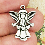 Angel Charm in Antique Silver Pewter Spreading Hearts