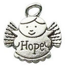 Angel Charm of Hope in Antique Silver Pewter