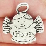 Hope Angel Charm in Antique Silver Pewter
