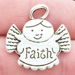 Angel Charm of Faith in Antique Silver Pewter