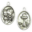 Oval First Communion Charm in Antique Silver Pewter
