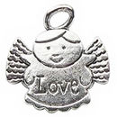 Angel Charm of Love in Antique Silver Pewter