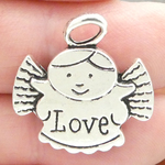 Love Angel Charms Bulk in Antique Silver Pewter