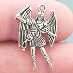 St Michael Charms Bulk in Silver Pewter