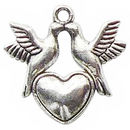 Doves on a Heart Charm Pendant in Antique Silver Pewter