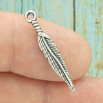 Small Silver Feather Charm Pewter