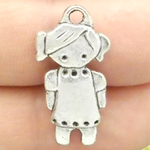 Small Girl Charm in Antique Silver Pewter with Pigtails