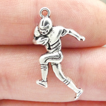 Running Back Football Charm Antique Silver Pewter