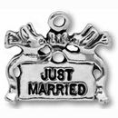 Just Married Sign Wedding Charm Antique Silver Pewter