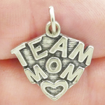 Team Mom Charm Antique Silver Pewter