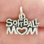Mom Softball Charm Antique Silver Pewter