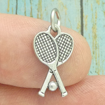 Crossed Tennis Racket Charm Silver Pewter