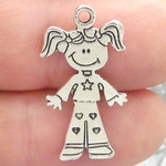 Girl Charm in Antique Silver Pewter with Heart Accents