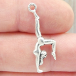 Gymnastics Charm 3D in Antique Silver Pewter Girl in Handstand