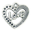 Love Heart Charm in Antique Silver Pewter