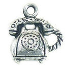 Old Time Phone Charm in Antique Silver Pewter