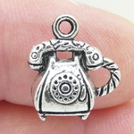 Rotary Telephone Charm in Silver Pewter