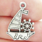 Sailboat Charms Wholesale in Antique Silver Pewter