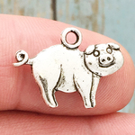 Pig Charm in Antique Silver Pewter