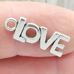 Word Love Charm in Antique Silver Pewter