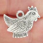 Chicken Charms Wholesale in Antique Silver Pewter