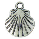 Small Sea Shell Charm in Antique Silver Pewter