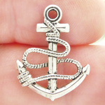 Anchor Charms Bulk Wholesale with Rope in Antique Silver Pewter