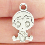 Baby Boy Charms Wholesale in Antique Silver Pewter