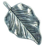 Medium Leaf Charm in Antique Silver Pewter
