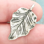 Leaf Charm Silver Pewter Medium