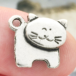 Standing Cat Charm in Antique Silver Pewter