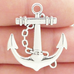 Anchor Charms Wholesale with Chain in Antique Silver Pewter