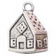 Gingerbread House Charm in Antique Silver Pewter