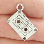 Cassette Tape Charms Wholesale in Antique Silver Pewter