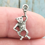 Monkey Charm in Antique Silver Pewter Small