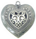 Puffed Lace Medium Heart Charm Pendant with Antique Silver Pewter