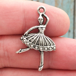 Ballerina Charm Silver Pewter