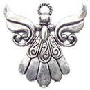 Artistic Angel Charm in Antique Silver Pewter with Flowing Dress