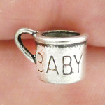 Baby Cup Charm in Antique Silver Pewter