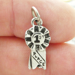 First Place Ribbon Charm Antique Silver Pewter
